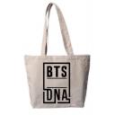 Kpop DNA Fashion Letter Printed Cotton White Hand Bag Shoulder Bag 40*30cm