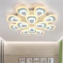Acrylic Peacock 2 Tiers Lighting Fixture Contemporary Multi Light Energy Saving LED Semi Flush Light