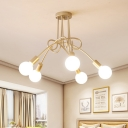 5 Heads Twist Ceiling Light Designer Style Metallic Semi Flush Light in Gold with Bare Bulb