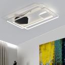 Modern 2 Oblong Flushmount Metallic LED Ceiling Fixture in Warm/White for Showroom