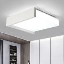 Concise Modern Squared Ceiling Flush Metallic LED Flush Light in White for Dining Room