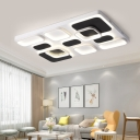 Ultra Thin Ceiling Light with Geometric Pattern Modern Metal LED Ceiling Flush Mount in Warm/White