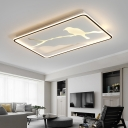 Bird Pattern Surface Mount LED Light with Rectangle Frame Modern Design Metal Flushmount