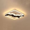 Metal Squared LED Lighting Fixture Nordic Style Decorative Flush Light in Warm/White for Sitting Room