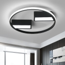 Contemporary Halo Ring LED Flush Mount Aluminum Ceiling Light in Warm/White for Entrance