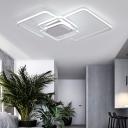 Multi-Layer Ceiling Light with 4 Square Frame Modern Chic Metallic LED Flush Light in White