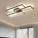 Modern Chic 3 Rectangle Flushmount Metallic LED Ceiling Fixture in Warm/White for Office