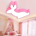 Pink/Yellow Kangaroo Flush Light Cartoon Metallic LED Ceiling Fixture for Nursing Room