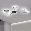 Sputnik LED Flush Light Fixture with Ring Shade Post Modern Silicon Gel Ceiling Light in Black
