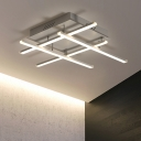 White Crossed Lines Semi Flush Mount Light Modernism Silicon Gel Multi Lights LED Ceiling Lamp
