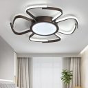 Nordic Bloom Shape Ceiling Fixture Metallic LED Flush Mount in Warm/White/Neutral