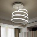 Spiral Ceiling Flush Mount Modern Metal LED Lighting Fixture in Warm/White for Sitting Room