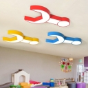 Spanner Shape LED Ceiling Lamp Blue/Green/Red/Yellow Metal Flush Light for Children