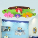 4 Heads Flower Ceiling Light Cartoon Style Kindergarten Glass Shade Flush Light in Pink