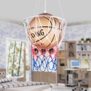 Glass Shade Suspended Light with Brown Basketball 1 Head Hanging Light Fixture for Game Room