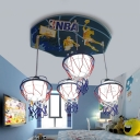 White Basketball Hanging Light Glass Shade 4 Lights Pendant Lamp for Game Room