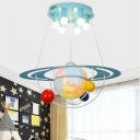 Tellurion 6 Lights Lighting Fixture Blue Metallic Eye Protection Ceiling Light for Amusement Park