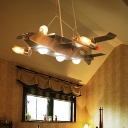 Metal Airplane Chandelier Lamp Boys Bedroom 8 Lights Hanging Lamp in Antique Brass