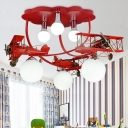 Red/Yellow Biplane Chandelier with Globe Glass Shade 6 Lights Flush Light for Amusement Park