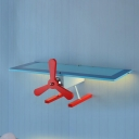 Cute Toy Airplane Lighting Fixture Nursing Room Wooden LED Wall Mount Light in Blue