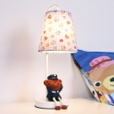 Resin Bear Standing Table Light with Blue/Yellow Checkered Shade Baby Kids Room 1 Bulb Table Lamp