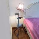 Deer Standing Light with Floral Pattern Fabric Shade Children Room 1 Light Floor Light in White Finish
