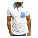 Contrast Collar Denim Patched Pocket Short Sleeve Men's Regular Fit Polo Shirt