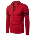Men's Sexy V-Neck Three-Button Striped Long Sleeve Fitted Polo Shirt