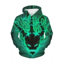 Thresh Face 3D Printed Pullover Green Hoodie