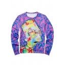 3D Purple Printed Crewneck Long Sleeve Sweatshirt