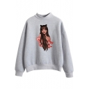 Popular Singer Figure Print Mock Neck Long Sleeve Loose Casual Sweatshirt