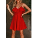 Summer Fashion Red Ruffled Hem Open Back Simple Plain Mini A-Line Slip Dress