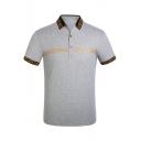 Fashion Logo Striped Trim Short Sleeve High Quality Cotton Fitted Polo Shirt