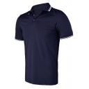 Men Summer Outdoor Tipped Short Sleeve Dri-Fit Training Sport Polo Shirt