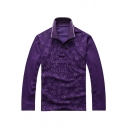 Trendy Allover Polka-Dot Pattern Long Sleeve Loose-Fit Cotton Polo for Men