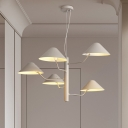 Matte White Cone Hanging Chandelier Modern Fashion Art Deco Metallic 5 Heads Suspension Light