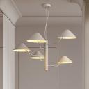Matte White Cone Hanging Chandelier Modern Fashion Art Deco Metallic 5 Heads Suspension Light