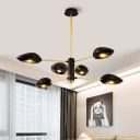 Black Geometric Shade Lamp Light Contemporary Plastic 6 Heads Chandelier Lighting for Hotel Hall