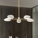 Rotatable 5 Lights Geometric Hanging Light with White Plastic Shade Modernism Chandelier Lamp