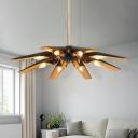 Brass Finish Oblique Indoor Lighting Fixture Nordic Style Metallic 8 Heads Decorative Chandelier