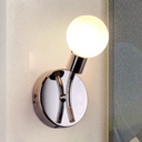 Chrome Finish Modo Wall Sconce Nordic Style Frosted Glass Single Light Wall Lighting for Hallway