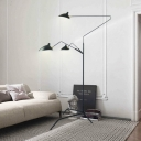 3 Lights Duckbill Standing Light Post Modern Rotatable Metal Floor Lamp in Black for Living Room