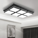 Black Quadrate LED Ceiling Fixture Modernism Nordic Style Metallic Flush Light for Study Room