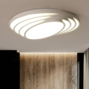 Acrylic Oval Shade LED Ceiling Fixture Modern Fashion Flush Mount Light in Warm/White