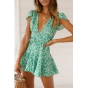 Summer Retro Floral Printed V-Neck Bow-Tied Waist Mini A-Line Tea Dress