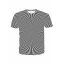 3D Cool Striped Whirlpool Printed Black Fitted T-Shirt