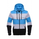 Sports Casual Color Block Long Sleeve Zip Up Sky Blue Slim Fitted Hoodie