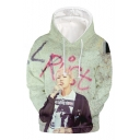 American Rapper Boy Band 3D Figure Pattern Loose Fitted Pullover Drawstring Hoodie