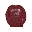Popular Letter SCHRUTE FARMS Graphic Printed Basic Round Neck Long Sleeve Red Sweatshirt