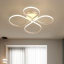 Minimalist Twist LED Ceiling Lamp Plastic Semi Flush Light Fixture in Warm/White/Neutral